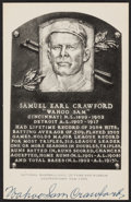 Autographs:Post Cards, 1957-60 Wahoo Sam Crawford Signed Hall of Fame Plaque Postcard....