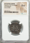 Ancients:Byzantine, Ancients: Heraclius (AD 610-641), with Heraclius Constantine. AR hexagram (24mm, 6h). NGC Choice Fine....