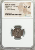 Ancients:Roman Imperial, Ancients: Hadrian (AD 117-138). AR denarius (18mm, 6h). NGC ChoiceVF....