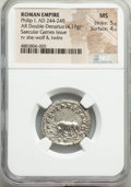 Ancients:Roman Imperial, Ancients: Philip I (AD 244-249). AR antoninianus (23mm, 4.17 gm,6h). NGC MS 5/5 - 4/5....