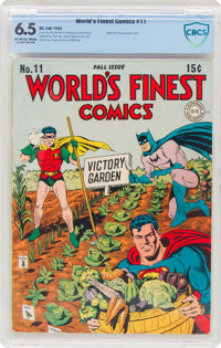 World's Finest Comics #11 (DC, 1943) CBCS FN+ 6.5 Off-white to white pages