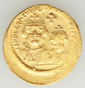 Ancients:Byzantine, Ancients: Heraclius (AD 610-641), with Heraclius Constantine. AV solidus (2mm, 4.46 gm, 7h). AU....