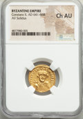 Ancients:Byzantine, Ancients: Constans II Pogonatus (AD 641-668). AV solidus (20mm, 6h). NGC Choice AU....