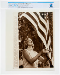 """AP Original Wirephotos: """"Flies the Flag"""" July 17, 1969, Directly From The Armstrong Family Collection™, CAG Ce..."""