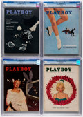 Magazines:Miscellaneous, Playboy CGC-Graded Group of 4 (HMH Publishing, 1956-59).... (Total: 4 Comic Books)