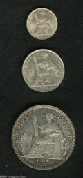 French Indo-China: , French Indo-China: A nice trio as follows: 10 Cent. 1914A, KM16.1,Choice AU; 20 Cent 1899A, KM10, AU; and an 1895 Piastre, KM5,XF.... (Total: 3 coins Item)