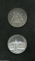 German States:Bremen, German States: Bremen. Free City Silver Pair, KM248 Taler 1865B, deeply toned AU, and KM-M1 Medallic Taler 1864B, AU lightly cleaned and on... (Total: 2 coins Item)