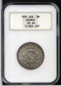 German States:Bremen, German States: Bremen. Free City 2 Mark 1904-J, KM250, MS66 NGC, a truly superior example with beautiful gray toning....