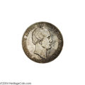 German States:Saxony, German States: Saxony. Friedrich August II Double Taler 1854-F, KM1183, light gray-gold patina, slightly prooflike surfaces. Death of the K...
