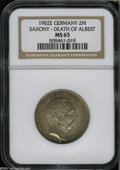 German States:Saxony, German States: Saxony. Albert 2 Mark 1902-E, KM1255, MS65 NGC, attractive gold and gray patina. Death of Albert....
