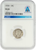Explorers:Space Exploration, Coins: 1934 10¢ VG8 NGC Mercury Dime Directly From The Armstrong Family Collection™, CAG Certified. ...