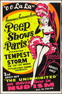 "The French Peep Show/The Uninhibited Combo (1954). Folded, Fine+. Trimmed Silk Screen Day-Glo One Sheet (27.25"" X 4..."