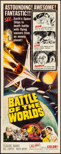 "Movie Posters:Science Fiction, Battle of the Worlds (Topaz, 1963). Folded, Very Fine-. Insert (14"" X 36""). Science Fiction.. ..."