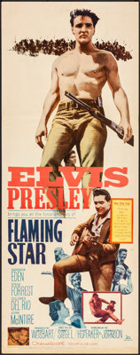 "Flaming Star (20th Century Fox, 1960). Folded, Very Fine-. Insert (14"" X 36""). Elvis Presley"