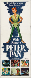 "Movie Posters:Animation, Peter Pan (Buena Vista, R-1958). Folded, Very Fine-. Insert (14"" X 36""). Animation.. ..."