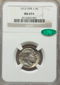 1913 5C Type One MS67★ NGC. CAC. NGC Census: (308/15 and 53/3*). PCGS Population: (671/28 and 53/3*). MS67. Mintage 30,9...