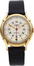 Timepieces:Wristwatch, Gruen, Veri-Thin, 14K Yellow Gold, Manual Wind, Circa 1945...