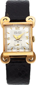 Timepieces:Wristwatch, Gruen, Curvex, Rare 18K Yellow Gold Edition, Manual Wind, ...