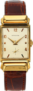 Timepieces:Wristwatch, Hamilton, Kevin, 18K Yellow Gold, Rare Model, Manual Wind, Circa1954. ...