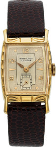 Timepieces:Wristwatch, Hamilton-Illinois, Debonair B, 10K Yellow Rolled Gold Plate andStainless, Manual Wind, Circa 1953. ...