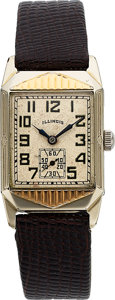 Timepieces:Wristwatch, Illinois, Chesterfield, Rare Model, 14K White and Yellow Goldfilled, Manual Wind, Circa 1934. ...