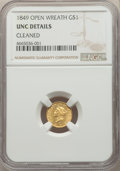 Gold Dollars: , 1849 G$1 Open Wreath -- Cleaned -- NGC Details. UNC. NGC Census:(29/1252). PCGS Population: (26/945). CDN: $405 Whsle. Bid...