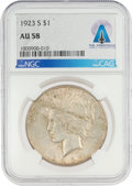 Explorers:Space Exploration, Coins: 1923-S $1 AU58 NGC Peace Silver Dollar Directly From The Armstrong Family Collection™, CAG Certified. ...