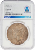 Explorers:Space Exploration, Coins: 1923 $1 AU58 NGC Peace Silver Dollar Directly From The Armstrong Family Collection™, CAG Certified....