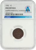 Explorers:Space Exploration, Coins: 1902 1¢ FINE DETAILS ENVIRONMENTAL DAMAGE NGC Indian Cent Directly From The Armstrong Family Collection™, CAG Certified...