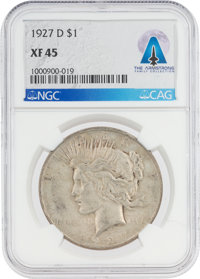 COINS: 1927-D $1 XF45 NGC Peace Silver Dollar Directly From The Armstrong Family Collection™, CAG Certified