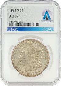 COINS: 1921-S $1 AU58 NGC Morgan Silver Dollar Directly From The Armstrong Family Collection™, CAG Certified