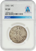 Explorers:Space Exploration, Coins: 1943 50¢ VF20 NGC Walking Liberty Half Dollar Directly From The Armstrong Family Collection™, CAG Certified. ...