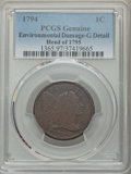 1794 1C Head of 1795 -- Environmental Damage -- PCGS Genuine. Good Details. NGC Census: (11/323). PCGS Population: (10/4...