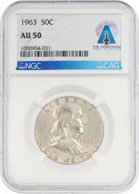 COINS: 1963 50¢ AU50 NGC Franklin Half Dollar Directly From The Armstrong Family Collection™, CAG Certified