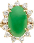 Estate Jewelry:Rings, Jadeite Jade, Diamond, Gold Ring  The ring fea...
