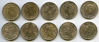 Guadeloupe: French Colony 10-Piece Lot of Uncertified Francs 1921 XF,... (Total: 10 coins)