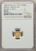 California Gold Charms, 1858 Round California Gold Token, Indian - Wreath #4a, MS64 NGC. 11.8 mm....