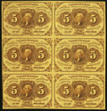 Fractional Currency:First Issue, Fr. 1230 5¢ First Issue Uncut Vertical Block of Six Very Fine.. ...