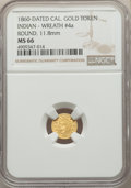 California Gold Charms, 1860 Round California Gold Token, Indian - Wreath #4a, MS66 NGC. 11.8 mm....