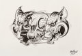 Works on Paper:Drawing, Nychos (Austrian, b. 1982). Tiger Head, 2017. Ink and pencil on paper. 7-3/4 x 11-1/4 inches (19.7 x 28.6 cm). Signed an...