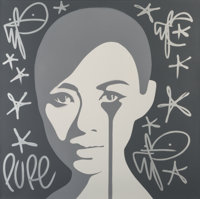 Pure Evil (b. 1968) Monochrome Zhang Ziyi with Silver Tags, 2019 Stencil spray paint on canvas 39