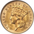 Three Dollar Gold Pieces, 1878 $3 MS64 PCGS. CAC....