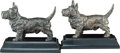 Decorative Arts, American, A Pair of Jennings Brothers Metal Scottish Terrier Bookends,Bridgeport, Connecticut, 1929. Marks: Molded J.B.... (Total: 2Items)
