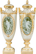 Ceramics & Porcelain, A Near-Pair of Minton Porcelain and Partial Gilt Pâte-sur-Pâte Urns by Albion Burks, Stoke-on-Trent, Staffordshire, England,... (Total: 2 Items)