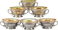 Six Dominick and Haff Silver and Iridescent Glass Windsor Pattern Dessert Bowls, New