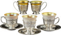 Silver Holloware, American, Five Various Silver and Gold Iridescent Glass Demitasse Groups,early 20th century. Marks: (various). 2-5/8 x 3-7/8 x 3-7/8 ...(Total: 5 Items)
