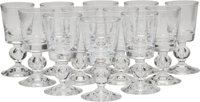 Twelve Steuben 7926 Pattern Claret Wine Glasses, Corning, New York, mid-20th century