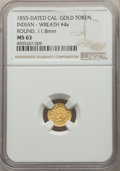 California Gold Charms, 1855 Round California Gold Token, Indian - Wreath #4a, MS63 NGC. 11.8 mm....