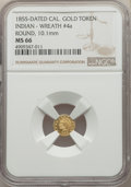 California Gold Charms, 1855 Round California Gold Token, Indian - Wreath #4a, MS66 NGC. 10.2 mm....