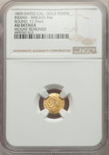 California Gold Charms, 1859 Round California Gold Token, Indian - Wreath #4e, -- Mount Removed -- NGC Details. AU. 11.7 mm....